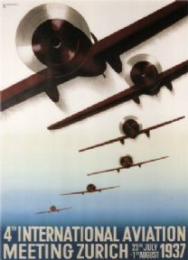Vintage Swiss poster - 4th International Aviation meeting